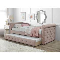 Canora Grey Bish Twin Daybed with Trundle Color: Blush Twin Daybed With Trundle, Girls Trundle Bed, Trundle Beds, Twin Beds, Queen Daybed, Girls Daybed Room, Girls Bedroom, Twin Bedroom Ideas, Home Decor Ideas