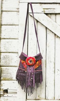 bohemian . gypsy . leather fringe . tattered rose . shoulder bag .. repurposed diy purse