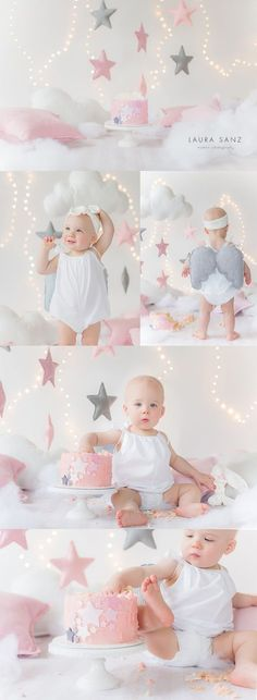 Stars and clouds cake smash session by Laura Sanz Photography (Cake Smash) First Birthday Photos, Girl First Birthday, Baby Birthday, Birthday Quotes, Smash Cake Girl, Birthday Cake Smash, Smash Cakes, Cake Smash Photography, Birthday Photography