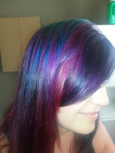 New Goldwell turquoise copper red-violet and violet hair with dark brown level 4 hair color(only in nape and fringe area)