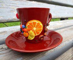 Купить Чайная пара Вкусная с декором из полимерной глины - коричневый, кружка вкусная, кружка с декором