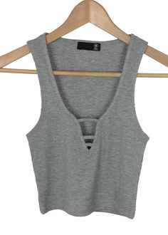 grey ribbed strappy front crop top
