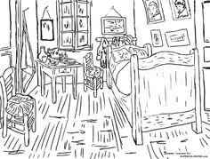 Bedroom at Arles By Vincent Van Gogh  Coloring page.. Free coloring pages