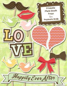 Romantic Birds Printables: Free Funky DIY Photo Booth Props - You do have to give your email in order to download them.