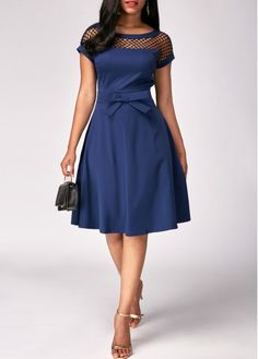 Blue Fishnet Panel Bowknot Embellished Dress on sale only US$33.00 now, buy cheap Blue Fishnet Panel Bowknot Embellished Dress at liligal.com