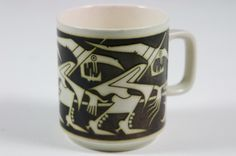 """Hornsea John Clappison Witches & Cat"""" birthday mug Hornsea Pottery, Pottery Mugs, Storm In A Teacup, Birthday Mug, Witch Cat, Halloween Celebration, Sgraffito, Tea Cups, Objects"""