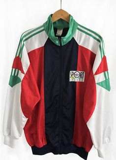 2221d3468 RARE Vintage 90 S Adidas Trefoil Windbreaker Tracksuit Top Jacket  Multicolor Blue White Red Green Size XL F192