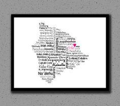 Hawaii Print, Map, Big Island, Hawaiian Islands, Destination Wedding, Country, Personalized, Custom, Gift, Cities, City, Housewarming Gift by DesignsByTenisha, $20.00