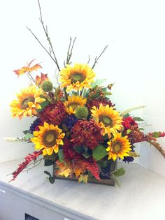 Autumn milk crate custom floral by Andrea for Michaels Laverne ca