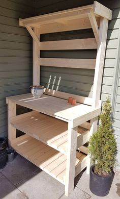 I built a work bench for our garden it will be oiled thoroughly before I start u. I built a work b Outdoor Potting Bench, Potting Bench Plans, Potting Tables, Backyard Projects, Outdoor Projects, Garden Projects, Woodworking Projects Diy, Diy Wood Projects, Woodworking Plans