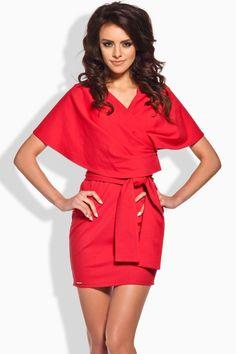 Lemoniade L138 - czerwona sukienka kimono