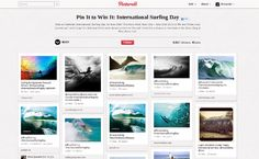 Examples of pinterest contestsThe Roxy pin-to-win contest featured surf-related images that support the company's brand.