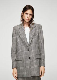 Prince of wales wool-blend blazer - f foBlazers Women | MANGO USA
