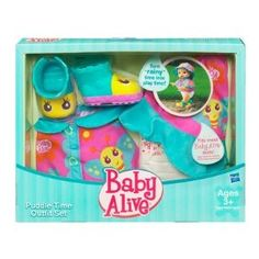 """Baby Alive Puddle Time Outfit Set by Hasbro. $11.11. Set Includes: Butterfly Boots, Poncho, Hat and Diaper Accessories. Baby Alive Puddle Time Outfit Set. Ages 3+. Doll Sold Separately. Don't let a """"rainy day"""" keep you and your BABY ALIVE doll from having fun! Dress your adorable little one in her own doll-sized boots, poncho, hat and diaper and pretend to go outside and splash through puddles. No matter what the weather, you and your cute little doll will love imaginin..."""
