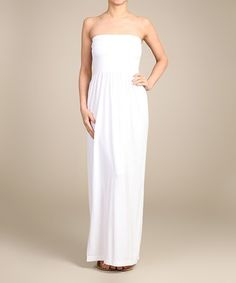 Another great find on #zulily! White Ribbed Strapless Maxi Dress by 42POPS #zulilyfinds