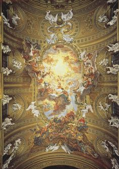 Baciccia (Giovanni Battista Gaulli), Adoration of the Name of Jesus, 1679.  Fresco, Chiesa del Gesu, Rome.  Posted in honour of the Feast of The Name of Jesus.