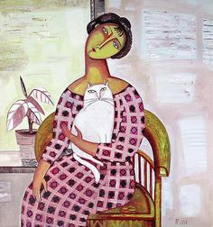 Woman in the Armchair figurative art - oil painting