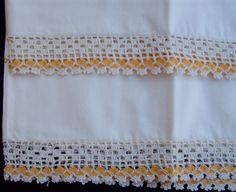 3 Sets of Vintage Full Pillowcases Crochet Embroidery Rick Rack Ocher Yellow