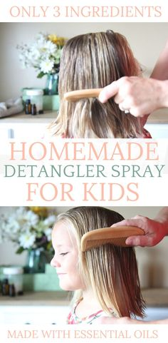 Take the work out of brushing the difficult knots from your long hair with this DIY hair detangler spray. It is all-natural and very cost-effective. Best Natural Hair Products, Natural Haircare, Natural Hair Styles, Long Hair Styles, Diy Hair Products, Baby Products, Diy Hair Detangler, Essential Oils For Kids, Hair Loss Treatment