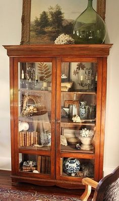 49 unique China Cabinet Makeover ideas - Home Page Antique China Cabinets, Antique Curio Cabinet, Curio Cabinet Decor, Library Cabinet, Book Cabinet, Vintage Cabinet, Cabinet Storage, Cabinet Ideas, Bathroom Storage