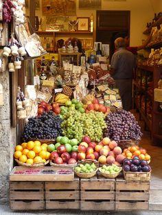 Siena Market Tuscany, Italy  Fruit, cheese, bread and wine