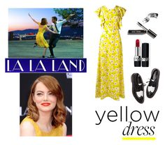 """In La La Land: Yellow Dresses - Polyvore Contest"" by helen5526 ❤ liked on Polyvore featuring Rochas, Christian Dior, Bobbi Brown Cosmetics, yellow, yellowdress, polyvorestyle and polyvorecontest"