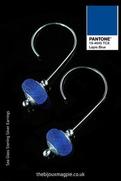Back to nature with these gorgeous handcrafted genuine Sea Glass earrings which mirror Pantone's intense Lapis Blue hue, seen on the runway during Fashion Week, it's another hot colour for Spring 2017.
