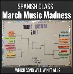 Everything you need for March Music Madness in Spanish class! #learnspanishforadultsfree