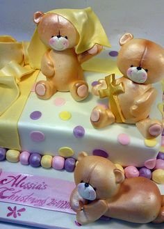 28540  teddies building cake CREATIVE CAKE ART FIRST BIRTHDAY CHRISTENING AND BABYSHOWER CAKES by www.creativecakeart.com.au, via Flickr