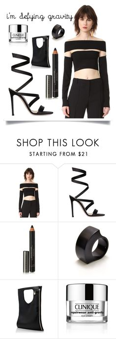 """Defying Gravity"" by queenofsienna ❤ liked on Polyvore featuring McQ by Alexander McQueen, Gianvito Rossi, Burberry, Filip Vanas, Alix, Clinique and statementshoes"