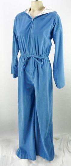 3afe32cb65d Vintage Velour Faux Suede Jumpsuit Size M Hooded Zip-Front Wide Leg Blue