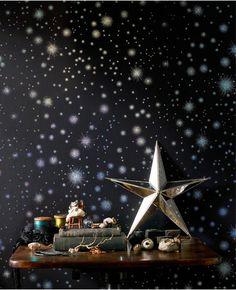 Starstruck: Midnight from www.grahambrown.com. Stardust wallpaper - the walls glitter like an endless galaxy of twinkling stars will this foil effect wallpaper.