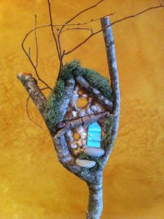 Fairy Plant Stake with moss roof and light blue by FairyCottages