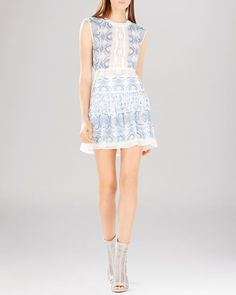 Bcbgmaxazria Dress - Aymenline Scarf Print & Lace Trim A-Line