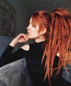 Red Head Dreaded girl dreadstyle dreadgirl girlswithdreads dreadhead hairstyle Wedding Invitations o Dreadlock Styles, Dreads Styles, Curly Hair Styles, Half Dreads, Partial Dreads, Dreadlocks Girl, Synthetic Dreadlocks, Half Dreaded Hair, White Girl Dreads