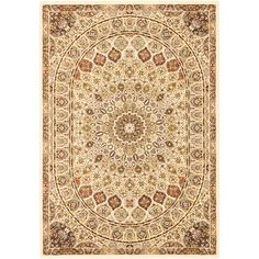 Persia Isfahan Cream 7 ft. 10 in. x 11 ft. 2 in. Area Rug, Beige