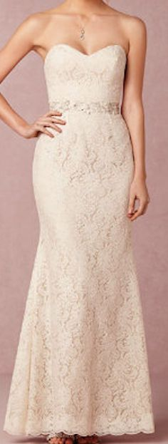 Strapless lace wedding gown @BHLDN