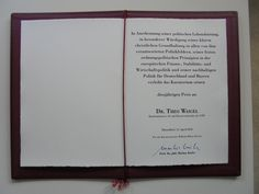 Preisurkunde für Dr. Theo Waigel, Träger des Wilhelm-Weber-Preises 2016 Professor, Event Ticket, Economic Policy, Christian, Finance, Sustainability, Life, Teacher