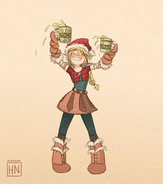 astrid wishes you a happy christmas snoggletog! (but please don't drink the yaknog) Httyd Dragons, Dreamworks Dragons, Dreamworks Animation, Disney And Dreamworks, How To Train Dragon, How To Train Your, Hiccup And Astrid, Dragon Rider, Drawing Reference Poses