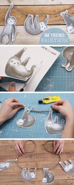 DIY-Anleitung: Girlande aus Faultieren basteln / diy tutorial: make a sloth garland, home decor, printable via http://DaWanda.com