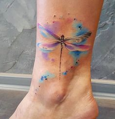 Simona Blanar Watercolor dragonfly tattoo