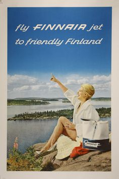 Mixed Media - Fly Finnair Jet To Friendly Finland - Finland Airways - Retro Travel Poster - Vintage Poster by Studio Grafiikka , Poster A3, Flyer Poster, Poster Prints, Art Print, Vintage Advertising Posters, Vintage Travel Posters, Vintage Advertisements, Vintage Airline, Retro