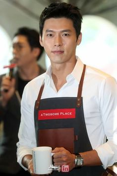 There is an excellent way to improve your coffee experience - by having it served by Korean actor, Hyun Bin. Maybe he'd sit and have a cup with you! Hyun Bin, Handsome Actors, Handsome Boys, Asian Actors, Korean Actors, Dramas, South Corea, Choi Jin Hyuk, Ha Ji Won