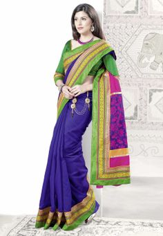 #Blue #Saree with Blouse @ $46.00