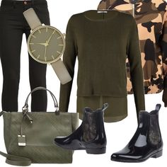 Ecco un outfit adatto alle prime giornate di pioggia. Splendido stivaletto in gomma nero con pantalone dello stesso colore. La maglia è verde oliva abbinata in modo delicato alla splendida borsa a a mano e all'orologio. Carinissimo il bomber con fantasia mimetica per rendere fashion il nostro look.