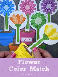 Flower Color Matching Early Learning Activities, Motor Activities, Classroom Activities, All Flowers, Colorful Flowers, Spring Garden, Color Names, Beaded Flowers, Card Stock