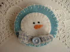Primitive Wool Snowman Penny Rug Pin Brooch