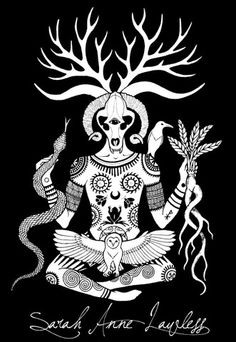 """""""Lord of the Beasts (2015 Redux)"""" - Print of original illustration by Sarah Anne Lawless. The Lord of the Beasts & Father of Witches w/his familiar spirits & magical Pictish & Slavic inspired-tattoos. In one hand he holds the serpent & in the other the mandragora. He is guardian of the wild, master of plants & animals, & wise in the ways of magic .. the bear-faced, horn-crowned Lord of the Wild Wood. Printed on 28 x 21.5 cm ultra premium matte photo paper. Comes without name watermark. ($25)"""
