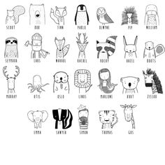 Get to know the wild Modern dress for hip kids - Animals Pictures Doodle Drawings, Doodle Art, Doodle Kids, Animal Doodles, Modern Outfits, Zentangle, Little Ones, Statue, Modern Clothing