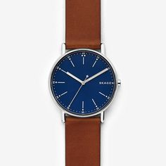 $125 - This 40mm Signatur watch has a sandblast dial and three-hand movement. Hours are marked by linear and dot indexes, with minutes indicated by dots and numeric markers at each hour station. A quick-release pin construction makes it easy to interchange the leather strap with any 20mm strap.